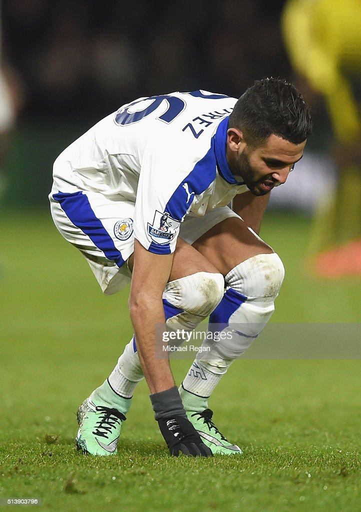 Riyad Mahrez of Leicester City holds his hamstring during the Barclays Premier League match between Watford and Leicester City at Vicarage Road on March 5, 2016 in Watford, England.