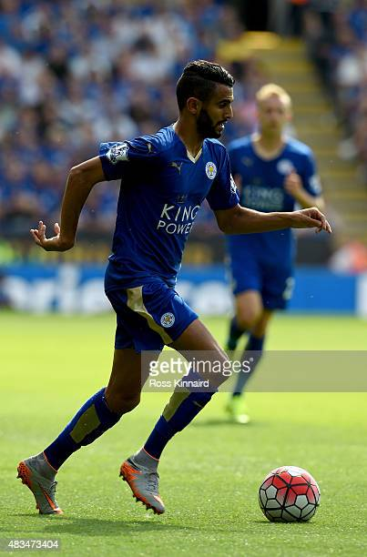 Riyad Mahrez of Leicester City in action during the Barclays Premier League match between Leicester City and Sunderland at the King Power Stadium on...