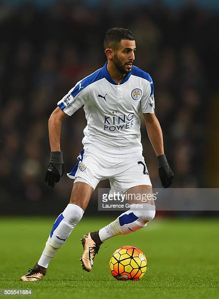 Riyad Mahrez of Leicester City in action during the Barclays Premier League match between Aston Villa and Leicester City at Villa Park on January 16...
