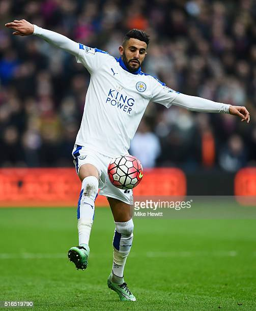 Riyad Mahrez of Leicester City in action during the Barclays Premier League match between Crystal Palace and Leicester City at Selhurst Park on March...