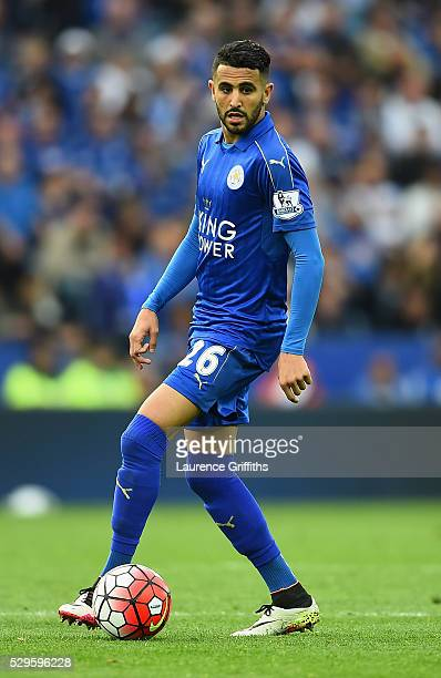 Riyad Mahrez of Leicester City in action during the Barclays Premier League match between Leicester City and Everton at The King Power Stadium on May...