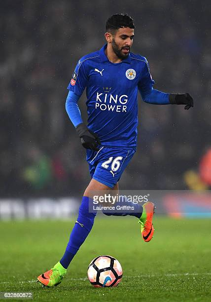 Riyad Mahrez of Leicester City in action during The Emirates FA Cup Fourth Round match between Derby County and Leicester City at iPro Stadium on...