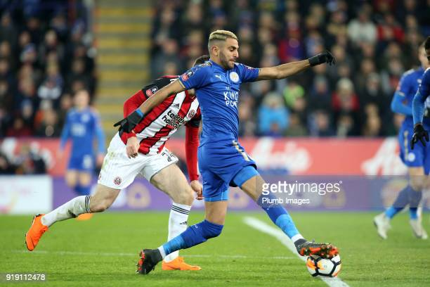 Riyad Mahrez of Leicester City in action during the FA Cup fifth round match between Leicester City and Sheffield United at King Power Stadium on...