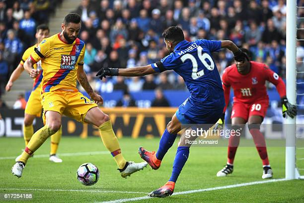 Riyad Mahrez of Leicester City in action during the Premier League match between Leicester City and Crystal Palace at The King Power Stadium on...