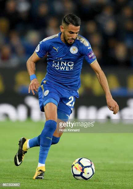 Riyad Mahrez of Leicester City in action during the Premier League match between Leicester City and West Bromwich Albion at The King Power Stadium on...
