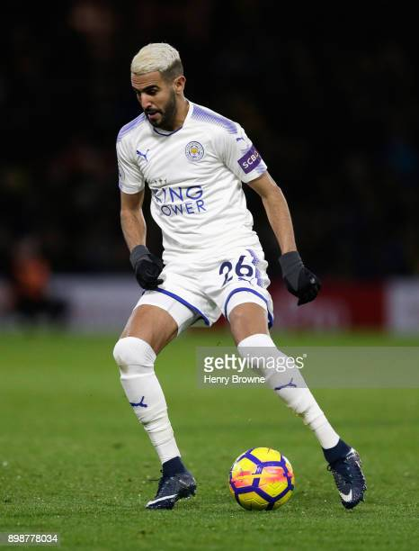 Riyad Mahrez of Leicester City in action during the Premier League match between Watford and Leicester City at Vicarage Road on December 26 2017 in...