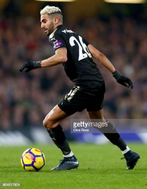 Riyad Mahrez of Leicester City in action during the Premier League match between Chelsea and Leicester City at Stamford Bridge on January 13 2018 in...