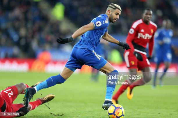 Riyad Mahrez of Leicester City in action during the Premier League match between Leicester City and Watford at The King Power Stadium on Jnuary 20th...