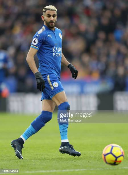 Riyad Mahrez of Leicester City in action during the Premier League match between Leicester City and Watford at The King Power Stadium on January 20...