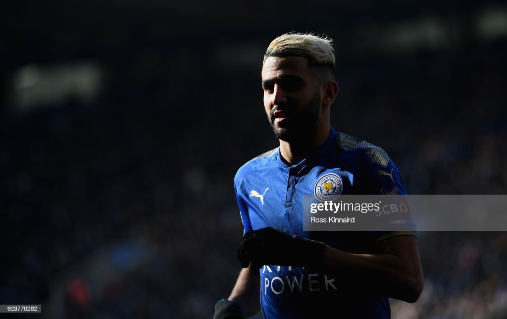 Riyad Mahrez of Leicester City in action during the Premier League match between Leicester City and Stoke City at The King Power Stadium on February 24, 2018 in Leicester, England.