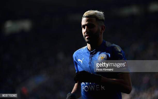 Riyad Mahrez of Leicester City in action during the Premier League match between Leicester City and Stoke City at The King Power Stadium on February...