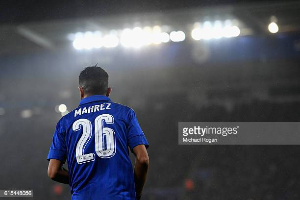 Riyad Mahrez of Leicester City in action during the UEFA Champions League Group G match between Leicester City FC and FC Copenhagen at The King Power...