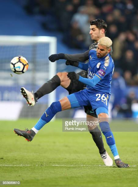 Riyad Mahrez of Leicester City in action with Alvaro Morata of Chelsea during The Emirates FA Cup Quarter Final tie between Leicester City and...