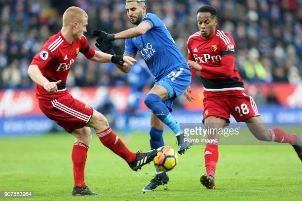 Riyad Mahrez of Leicester City in action with Ben Watson of Watford during the Premier League match between Leicester City and Watford at King Power...