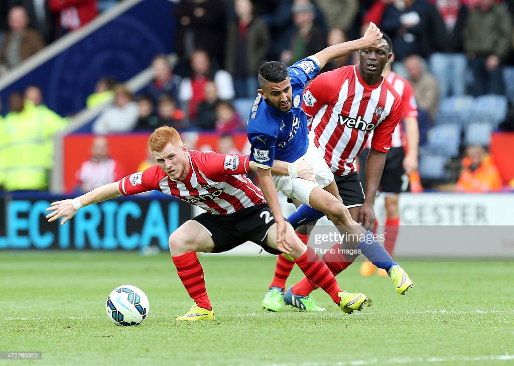 Riyad Mahrez of Leicester City in action with Harrison Reed of Southampton during the Premier league match between Leicester City and Southampton at The King Power Stadium on May 9, 2015 in Leicester, England.