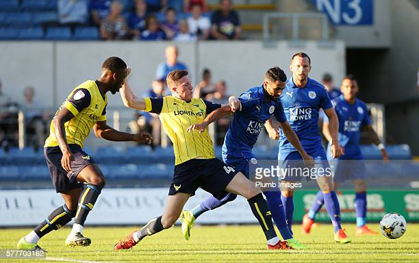 Riyad Mahrez of Leicester City in action with John Lundstram of Oxford United during the pre season friendly between Oxford United and Leicester City...