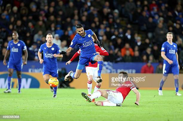 Riyad Mahrez of Leicester City in action with Michael Carrick of Manchester United during the Barclays Premier League match between Leicester City...
