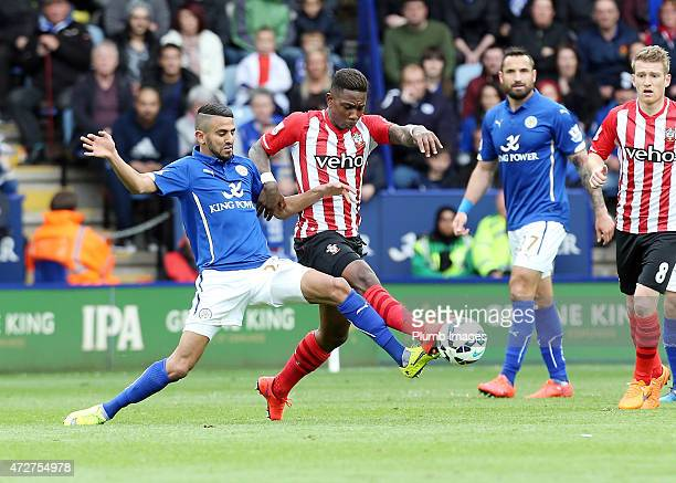 Riyad Mahrez of Leicester City in action with Nathaniel Clyne of Southamptom during the Premier league match between Leicester City and Southampton...
