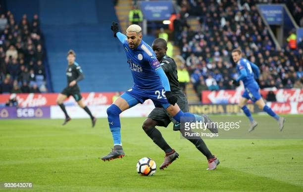 Riyad Mahrez of Leicester City in action with N'Golo Kante of Chelsea during The Emirates FA Cup Quarter Final tie between Leicester City and Chelsea...