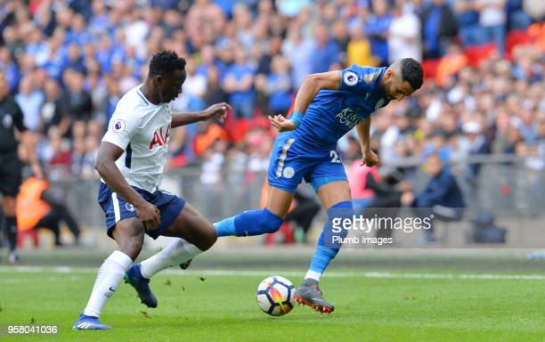Riyad Mahrez of Leicester City in action with Victor Wanyama of Tottenham Hotspur during the Premier League match between Tottenham Hotspur and...