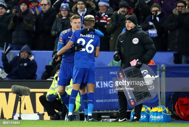Riyad Mahrez of Leicester City is replaced by Jamie Vardy of Leicester City as a substitute during The Emirates FA Cup Third Round Replay match...