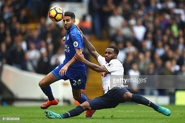 Riyad Mahrez of Leicester City is tackled by Danny Rose of Tottenham Hotspur during the Premier League match between Tottenham Hotspur and Leicester...