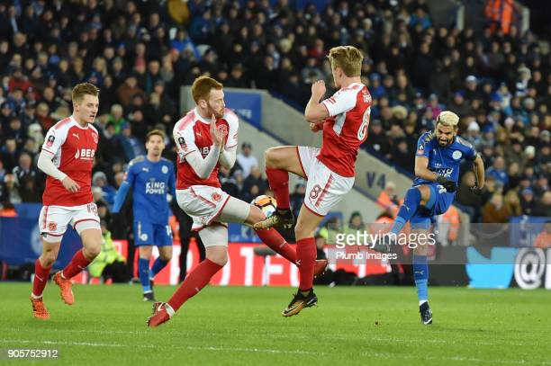 Riyad Mahrez of Leicester City lets fly with a long range shot during the FA Cup Third round replay between Leicester City and Fleetwood Town at The...