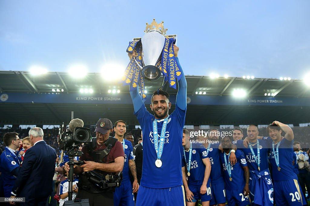 Riyad Mahrez of Leicester City lifts the Premier League ...