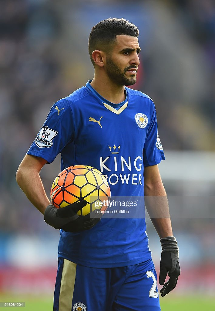 Riyad Mahrez of Leicester City looks on during the Barclays Premier League match between Leicester City and Norwich City at The King Power Stadium on February 27, 2016 in Leicester, England.