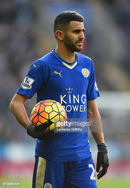 Riyad Mahrez of Leicester City looks on during the Barclays Premier League match between Leicester City and Norwich City at The King Power Stadium on...