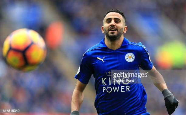 Riyad Mahrez of Leicester City looks on during the Premier League match between Leicester City and Hull City at The King Power Stadium on March 4...