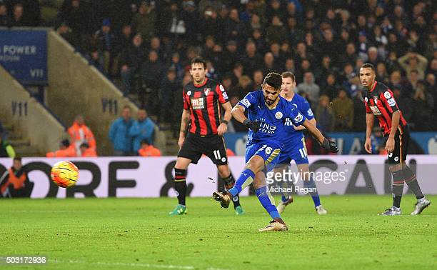 Riyad Mahrez of Leicester City misses the penalty during the Barclays Premier League match between Leicester City and Bournemouth at The King Power...