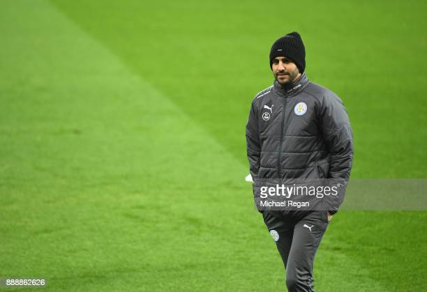 Riyad Mahrez of Leicester City on the pitch prior to the Premier League match between Newcastle United and Leicester City at St James Park on...