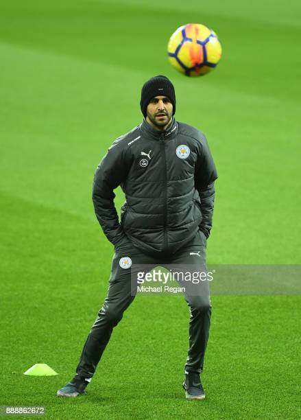 Riyad Mahrez of Leicester City on the pitch with a ball prior to the Premier League match between Newcastle United and Leicester City at St James...