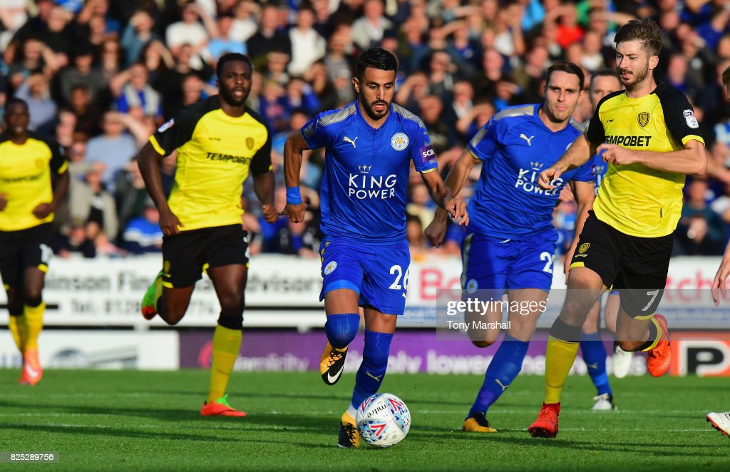 Riyad Mahrez of Leicester City presses forward during the Pre-Season Friendly match between Burton Albion v Leicester City at Pirelli Stadium on August 1, 2017 in Burton-upon-Trent, England.