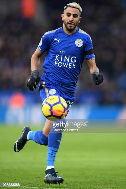 Riyad Mahrez of Leicester City runs with the ball during the Premier League match between Leicester City and Watford at The King Power Stadium on...