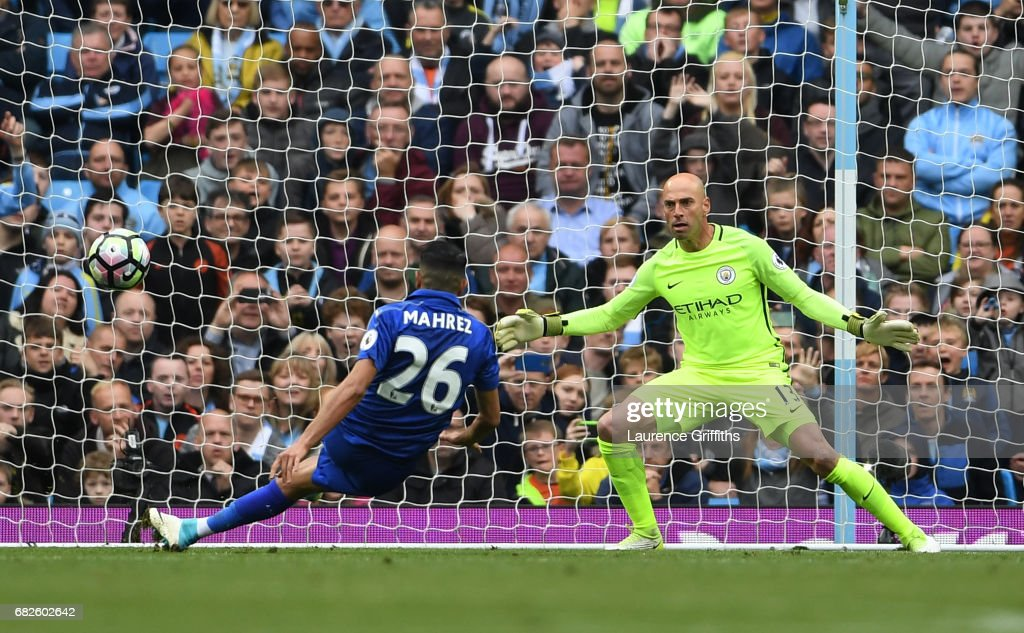 Riyad Mahrez of Leicester City scores a penalty which is later disallowed during the Premier League match between Manchester City and Leicester City at Etihad Stadium on May 13, 2017 in Manchester, England.