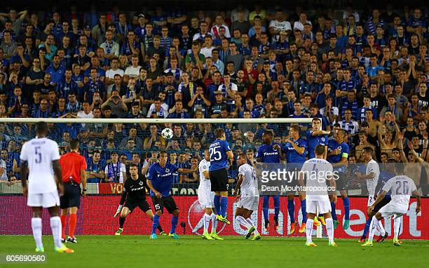 Riyad Mahrez of Leicester City scores from a free kick during the UEFA Champions League match between Club Brugge KV and Leicester City FC at Jan...