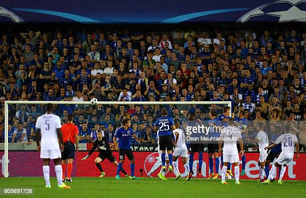 Riyad Mahrez of Leicester City scores from a free kick for their second goal during the UEFA Champions League match between Club Brugge KV and...