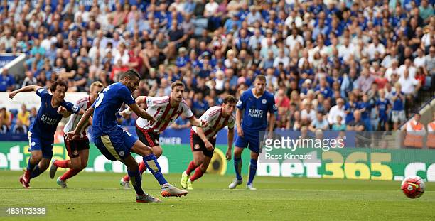 Riyad Mahrez of Leicester City scores from the penalty spot during the Barclays Premier League match between Leicester City and Sunderland at The...