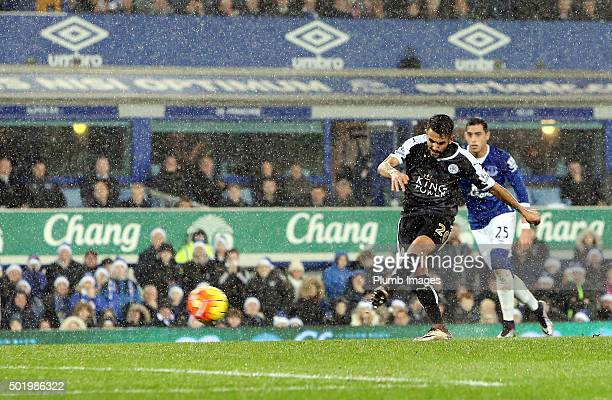 Riyad Mahrez of Leicester City scores from the penalty spot to make it 12 during the Premier League match between Everton and Leicester City at...