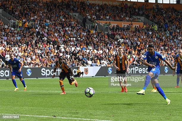 Riyad Mahrez of Leicester City scores from the penalty spot to make it 11 during the Premier League match between Leicester City and Hull City at KC...