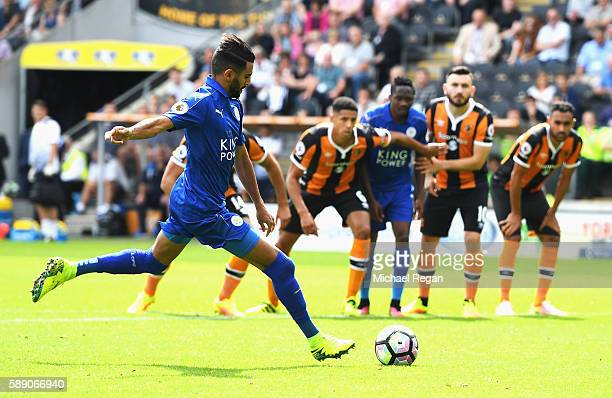 Riyad Mahrez of Leicester City scores his sides first goal during the Premier League match between Hull City and Leicester City at KCOM Stadium on...