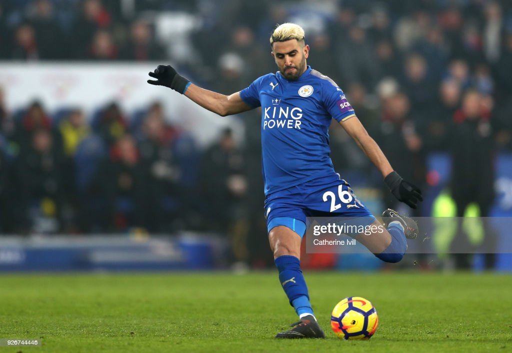 Riyad Mahrez of Leicester City scores his sides first goal during the Premier League match between Leicester City and AFC Bournemouth at The King Power Stadium on March 3, 2018 in Leicester, England.
