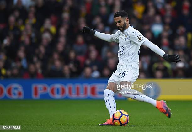 Riyad Mahrez of Leicester City scores his sides first goal from the penalty spot during the Premier League match between Watford and Leicester City...