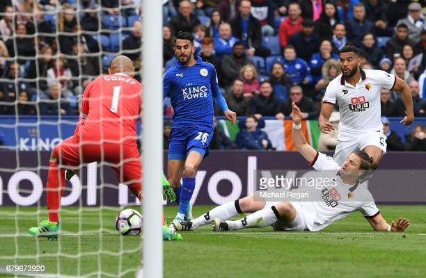 Riyad Mahrez of Leicester City scores his sides second goal during the Premier League match between Leicester City and Watford at The King Power...
