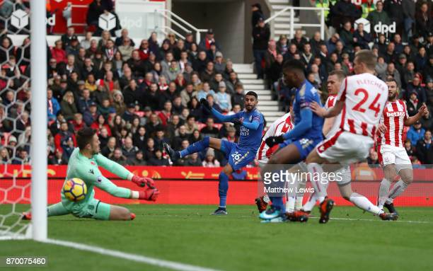Riyad Mahrez of Leicester City scores his sides second goal during the Premier League match between Stoke City and Leicester City at Bet365 Stadium...