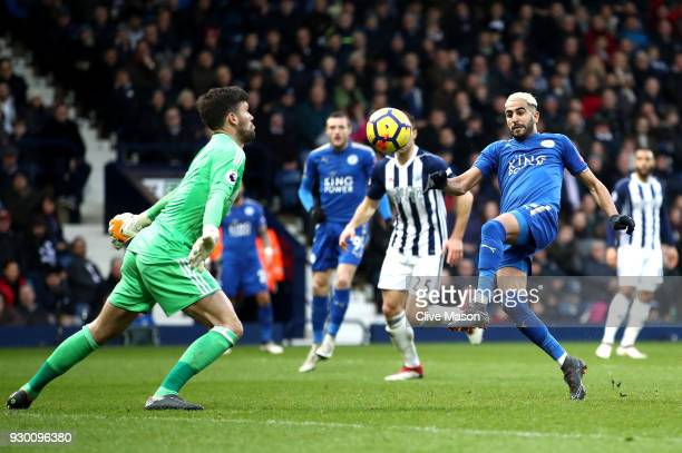 Riyad Mahrez of Leicester City scores his sides second goal during the Premier League match between West Bromwich Albion and Leicester City at The...
