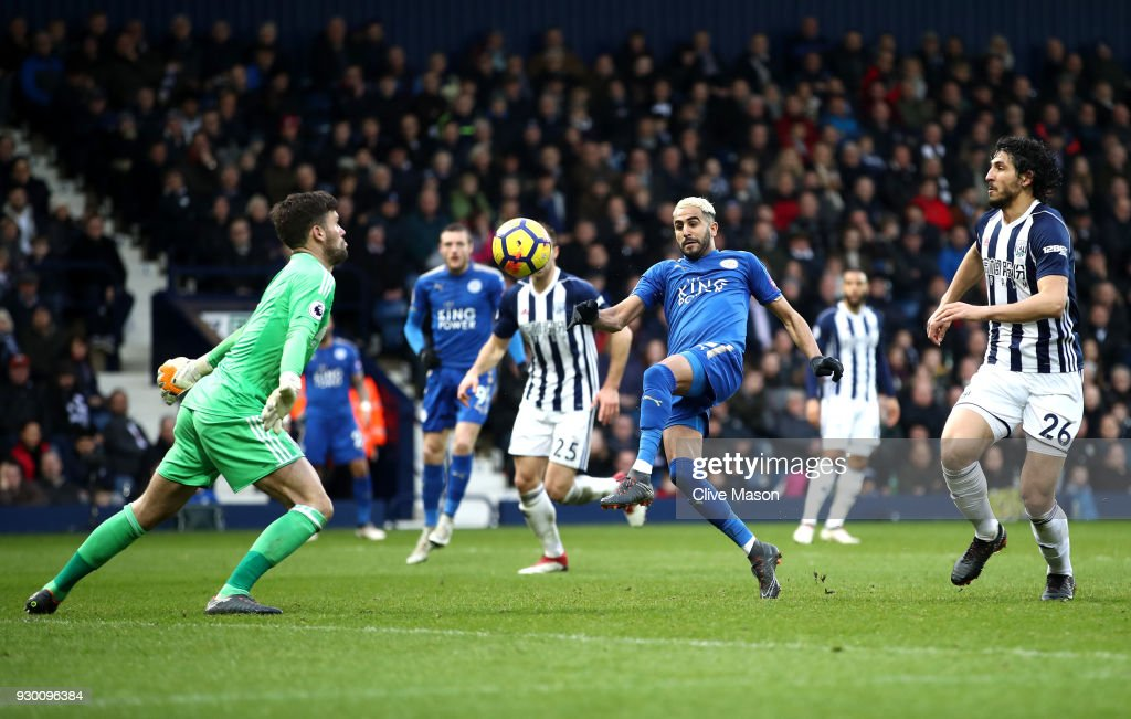 Riyad Mahrez of Leicester City scores his sides second goal during the Premier League match between West Bromwich Albion and Leicester City at The Hawthorns on March 10, 2018 in West Bromwich, England.
