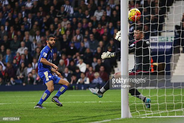 Riyad Mahrez of Leicester City scores his team's second goal during the Barclays Premier League match between West Bromwich Albion and Leicester City...